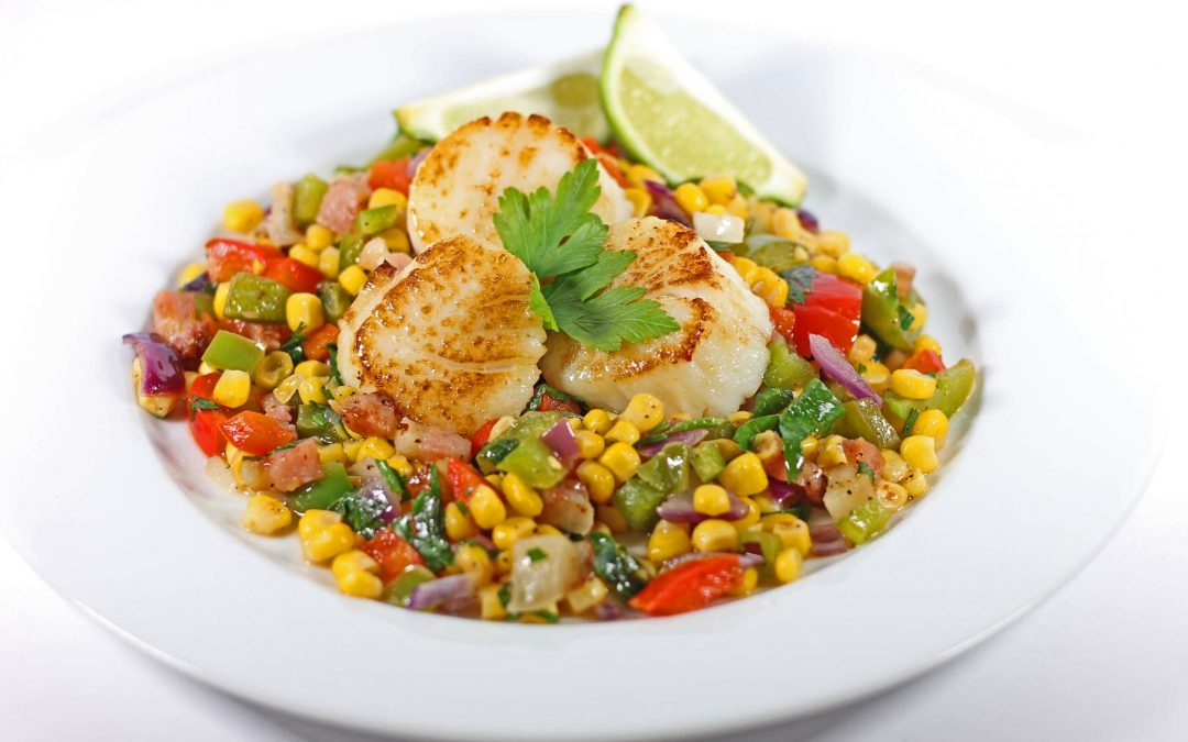 Seared Scallops with Bacon, Peppers and Corn