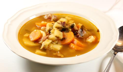 Hungarian Ham and Navy Bean Soup or Bab Leves  (bawb LEH-vesh)