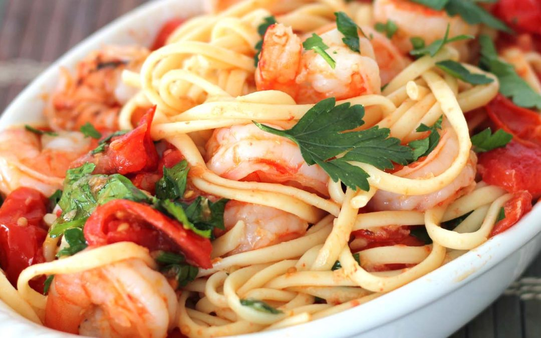 Garlic Shrimp with Baby Plum Tomatoes