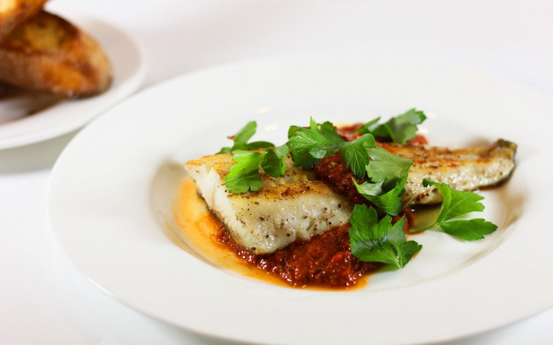 Pan Seared Black Cod Fillets with Puttanesca Sauce