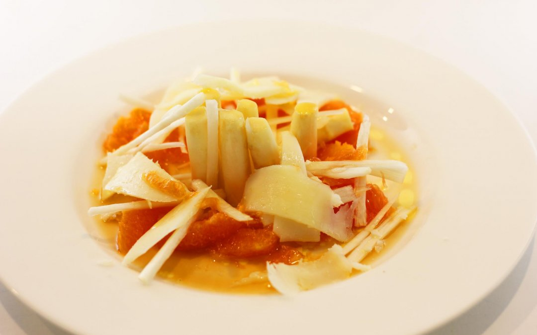 White Asparagus with Shaved Manchego Cheese and Citrus Dressing