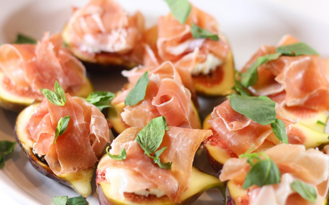 Black Fig with Balsamic Reduction and Prosciutto Ham