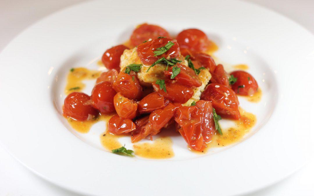 Baked Ricotta Soufflé with Cherry Tomato Vinaigrette