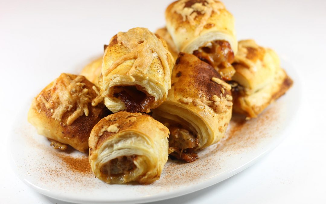 Pigs-in-a-Blanket with Country Sausage, Apple Jam, and Manchego