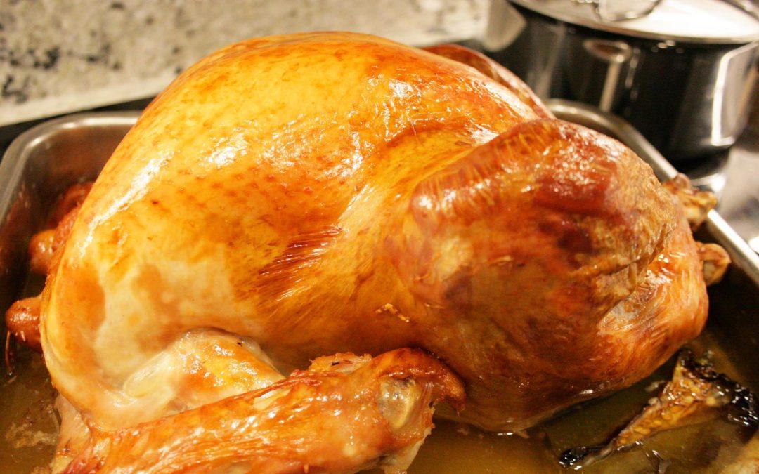 Roast Turkey with Bread, Mushroom and Sage Stuffing