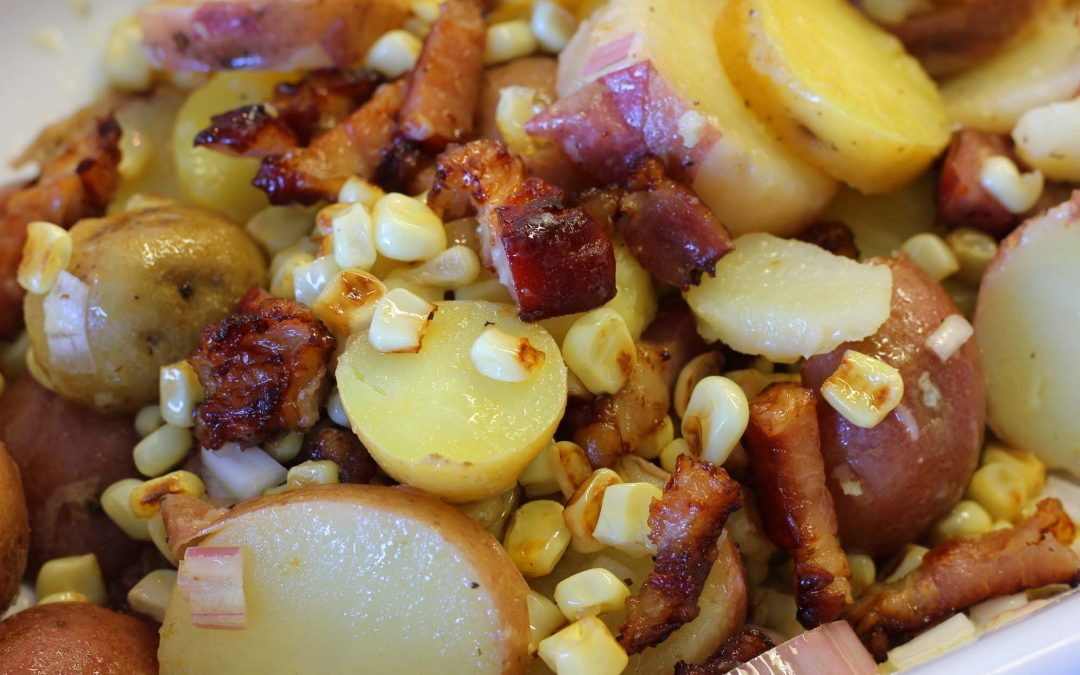 Grilled Corn, Bacon and Potato Salad
