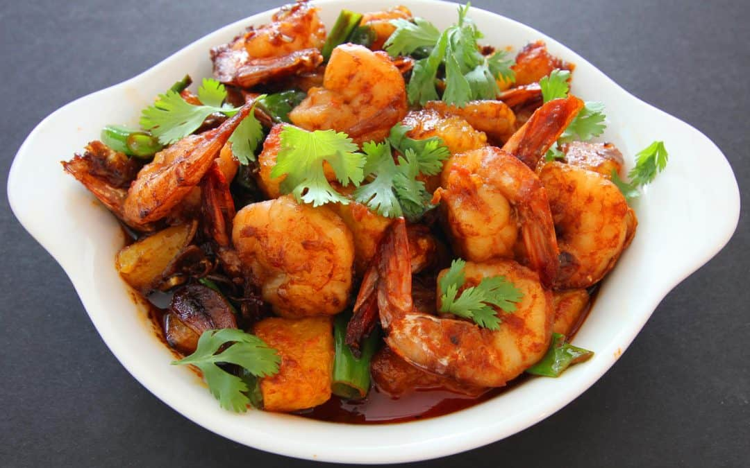 Spicy Shrimp with Roasted Pineapple